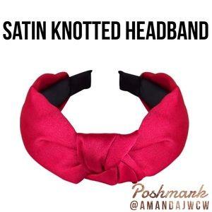 """Silk Cross Knot Twist Headband - Red - 1"""" Wide"""